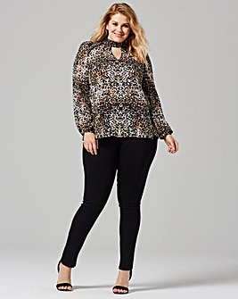 Grazia High Neck Animal Print Blouse