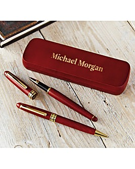 2 Wooden Pens in Case Personalised