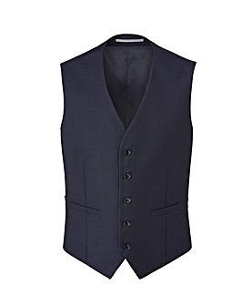 Burton Navy Pindot Suit Waistcoat Reg