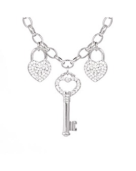 Espree Heart and Key Crystal Necklace
