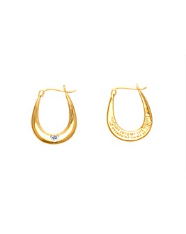 9ct Gold Plated Diamond Message Earrings