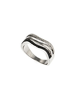Rhodium Glitter Effect Wave Ring