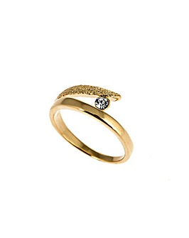Ladies Gold Plated Single Crystal Ring
