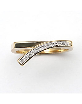 Gold Plated Glitter Effect Shaped Ring