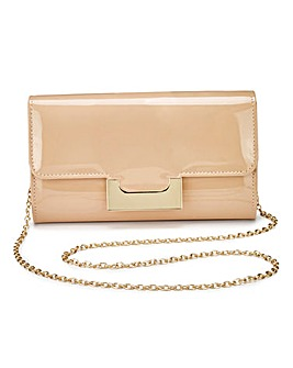 Lily Nude Patent Clutch Bag