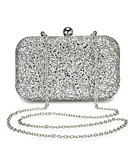Alice Silver Glitter Clutch Bag