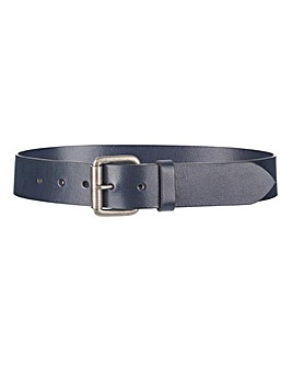 Navy Leather Jeans Belt