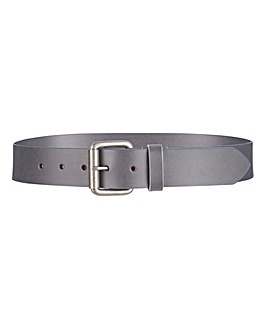 Grey Leather Jeans Belt