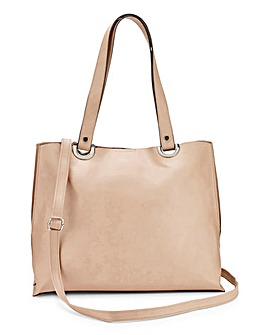 Nude Shopper Bag with Shoulder Strap