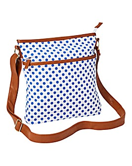 White Dotty Canvas Cross Body Bag