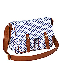 White Dotty Canvas Satchel