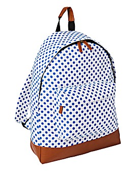 White Dotty Canvas Back Pack