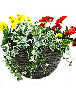 Artificial Plant Pansy Wall Basket