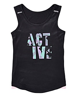 KD Active Girls Black Long Lined Vest