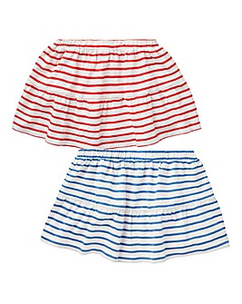 KD Girls Stripe Pack of Two Skirts