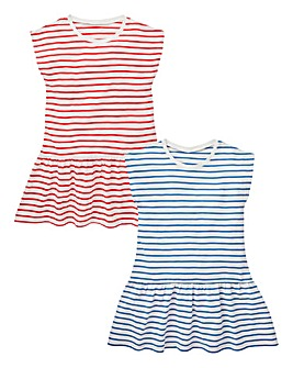 KD Girls Stripe Pack of Two Dresses