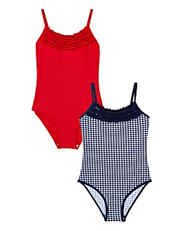 KD Girls Pack of Two Gingham Swimsuits