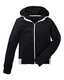 KD Active Girls Black Full Zip Hoodie