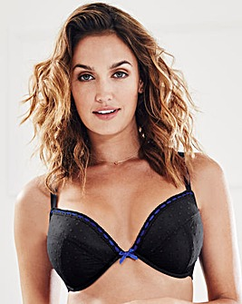 Spot Mesh Plunge Wired Black Bra