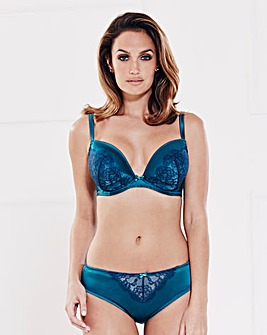 Satin and Lace Plunge Wired Teal/Nvy Bra