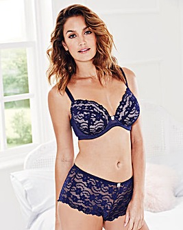 Lace Plunge Wired Navy Bra