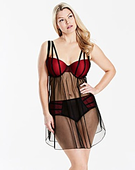 Sasha Fishnet Black/Red Plunge Babydoll