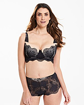 Giselle Lace Longline Wired Black Bra
