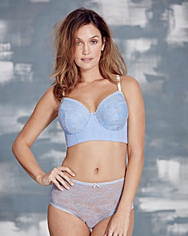 Corded Lace Midi Wired Blue Bra