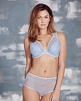 Corded Lace Half Padded Blue Bra
