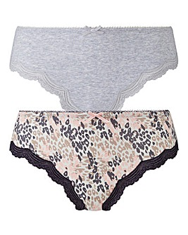 2 Pack Sophie Grey/Print Midi Briefs