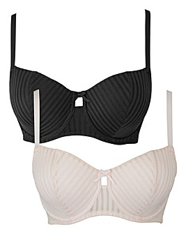 2 Pack Knitted Stripe Black/Blush Bras