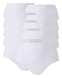 10 Pack White Midi Briefs