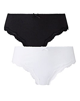 2 Pack Sophie Black/White Midi Briefs