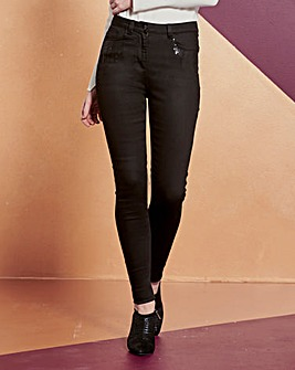 Sophia Fly Front Sequin Jeggings Reg