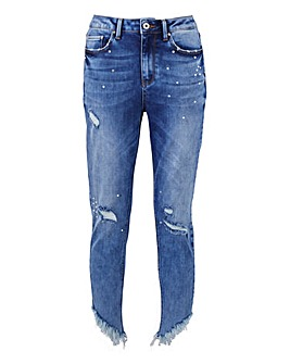 Luna Gemstone Chewed Hem Slim Leg Jeans