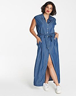 Soft Tencel Denim Maxi Shirt Dress