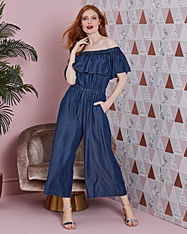 Tencel Denim Bardot Culottes Jumpsuit