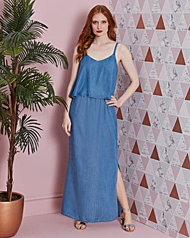 Tencel Denim Double Layer Maxi Dress