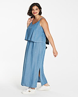 Soft Tencel Denim Layer Maxi Dress