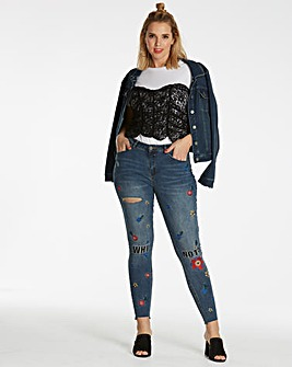 Chloe Embroidered Step Hem Skinny Jeans