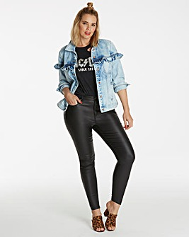 Chloe Stretch Coated Skinny Jeans Short