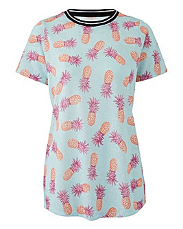 Pineapple Print Sports Rib T-Shirt