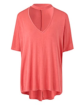 Bright Coral High Neck Low V Slouch Top