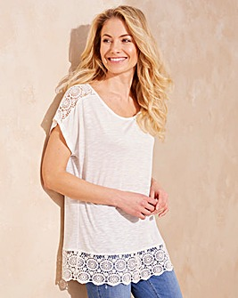 Ivory Crochet Trim T-shirt