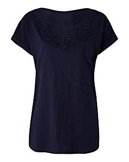 Navy Crochet Neck T-shirt