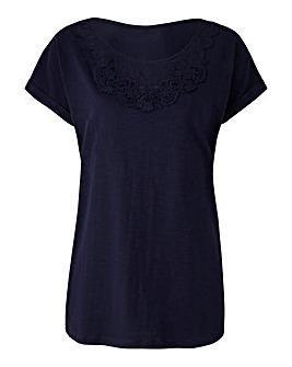 Navy Crochet Neck T-shirt