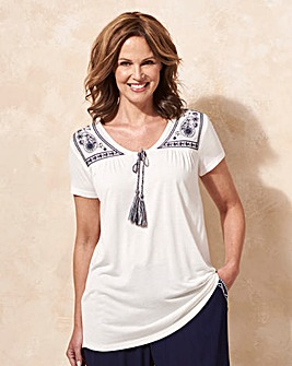 Ivory Tie Front Embroidered Top