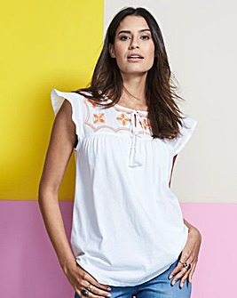 White Frill Sleeve Embroidered Top