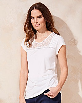 Ivory Embroidered Mesh Jersey Top