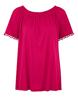 Hot Pink Pom Pom Trim Gypsy Top